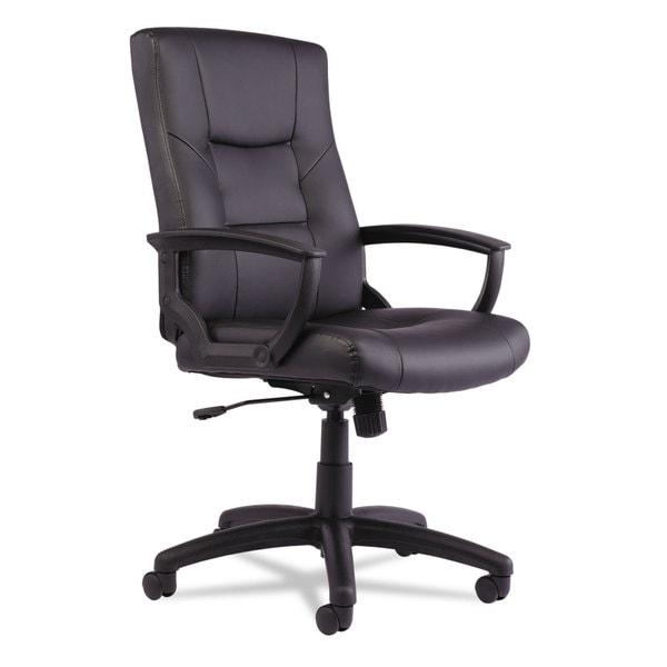 Alera YR Series Black Executive High-Back Swivel/Tilt Leather Chair