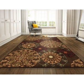 Ottomanson Ottohome Brown Contemporary Damask Design Runner Rug (8'2 x 9'10)