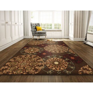 Ottomanson Ottohome Collection Contemporary Damask Design Brown Area Rug with Non-skid Non-slip Rubber Backing (8' x 10')