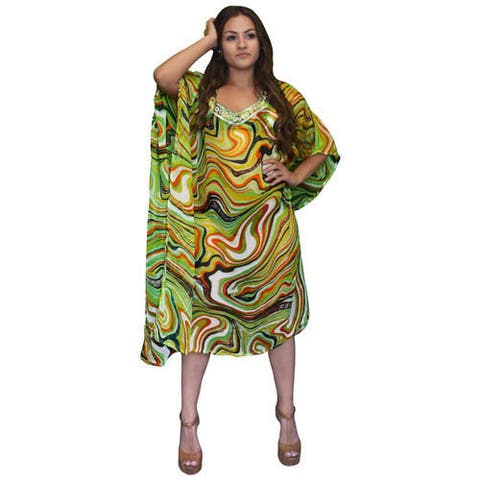 Peach Couture Sheer Bathing Suit Swirl Cover Up Swim Dress