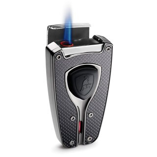 Tonino Lamborghini Forza Black Carbon Fiber Cigar Lighter (Ships Degassed)