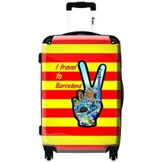 iKase 'I Travel To Barcelona' 24-inch Hardside Spinner Upright Suitcase
