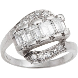 Platinum 1 3/4ct TDW Swirl Diamond Deco Estate Ring (H-I, VS1-VS2)