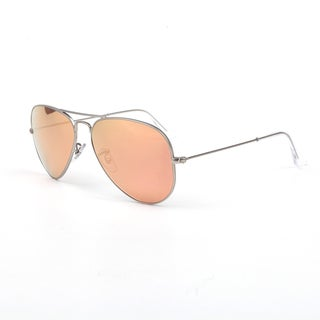 Ray-Ban RB3025 58mm Sunglasses Matte Silver Mirror Pink Lenses