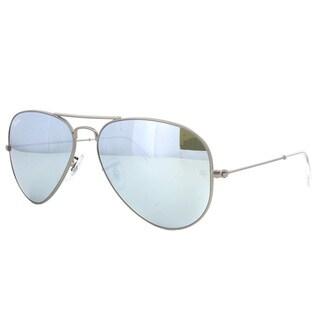 Ray-Ban RB3025 Gunmetal Frame Green Mirror Silver Lenses Aviator Sunglasses