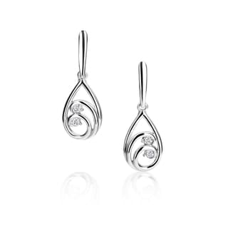 SummerRose 14k White Gold Double Link Diamond Accent Earrings (H-I,SI1-SI2)