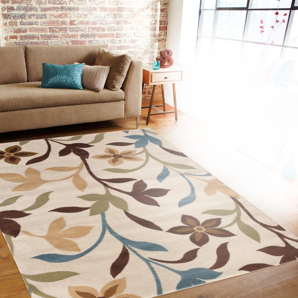 Modern Contemporary Leaves Design Cream Area Rug (7'10 x 10'2) - 7'10 x 10'2