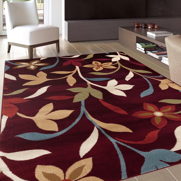 Modern Contemporary Leaves Design Burgundy Area Rug - 7'10 x 10'2