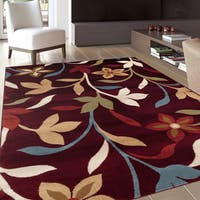 Modern Contemporary Leaves Design Burgundy Area Rug (7'10 x 10'2) - 7'10 x 10'2