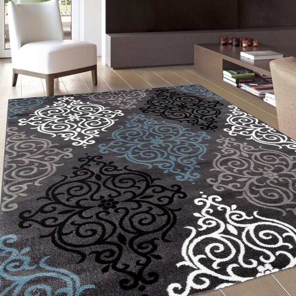 Modern Transitional Soft Damask Grey Area Rug 7 10 X 10