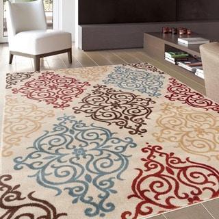 Modern Transitional Soft Damask Cream Area Rug (7'10 x 10'2)