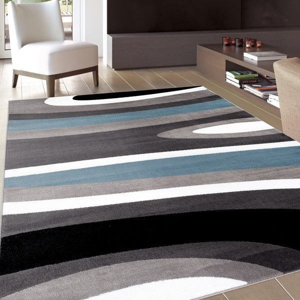 """Abstract Contemporary Modern Blue Area Rug (7'10 x 10'2) - 7'10"""" x 10'2"""""""