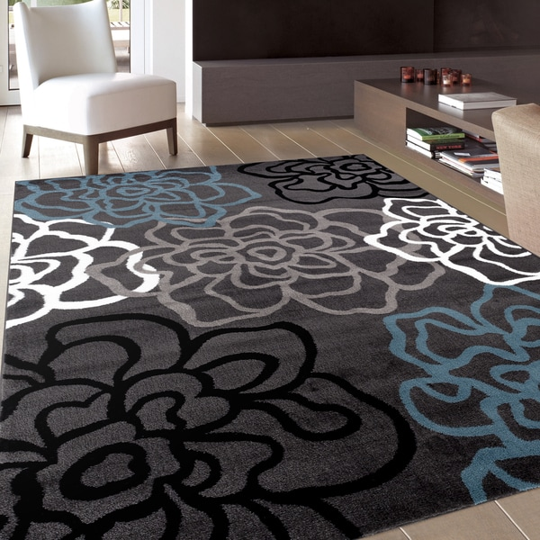 Contemporary modern floral flowers grey area rug 7 39 10 x for Living room rugs 9x12