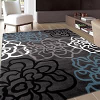 Contemporary Modern Floral Flowers Grey Area Rug (