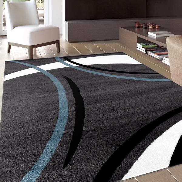 Contemporary Modern Wavy Circles Grey Area Rug (7'10 x 10'2) - 7'10 x 10'2