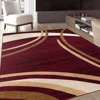 "Contemporary Modern Wavy Circles Burgundy Area Rug (7'10 x 10'2) - 7'10"" x 10'2"""