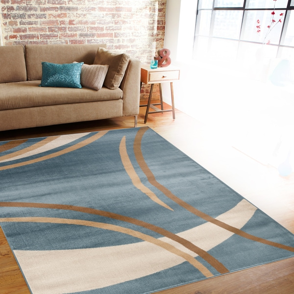 Shop Contemporary Modern Wavy Circles Blue Area Rug 7 10