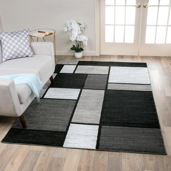 Contemporary Modern Boxes Grey Area Rug (7'10 x 10'2) - 8' x 10'