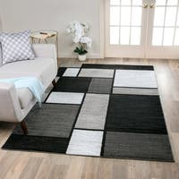 Contemporary Modern Boxes Grey Area Rug  (7'10 x 10'2) - 8' x 10'