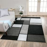 OSTI Grey/Black/White Contemporary Modern Geometric Boxes Area Rug - 8' x 10'