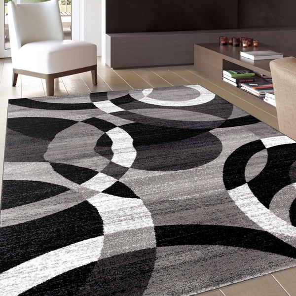 Contemporary Modern Circles Grey Area Rug Abstract 7 10
