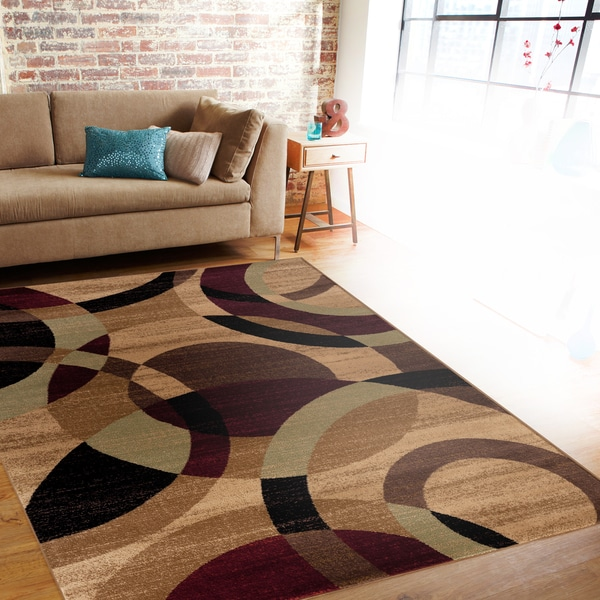 Contemporary modern circles multi area rug abstract 7 39 10 for 7 x 9 dining room rugs