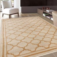 "Trellis Contemporary Modern Design Cream Area Rug - 7'10"" x 10'2"""