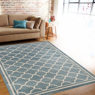 "Trellis Contemporary Modern Design Blue Area Rug (7'10 x 10'2) - 7'10"" x 10'2"""