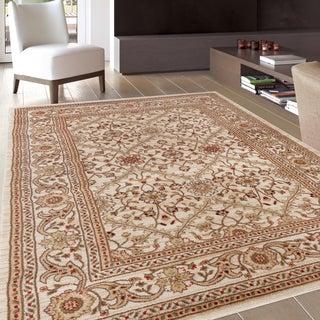Oriental Design Floral Cream Area Rug (7'10 x 10'2)