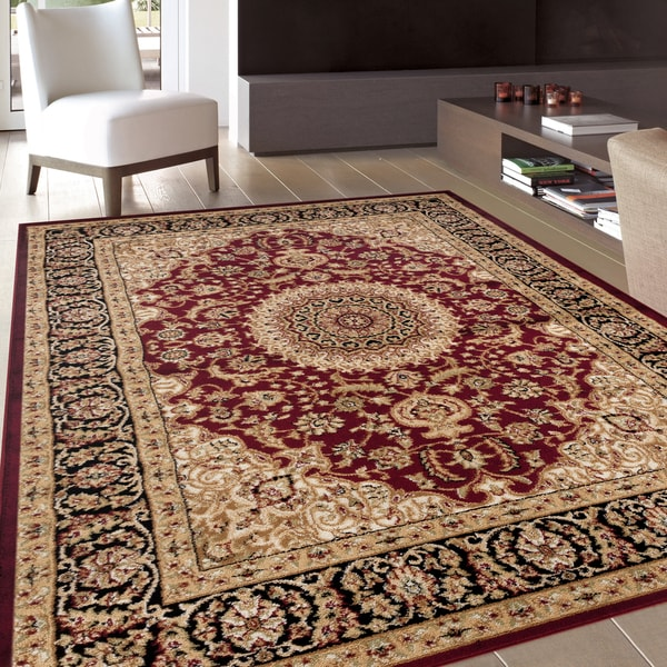 "Traditional Oriental Medallion Design Burgundy Area Rug - 7'10"" x 10'2"""