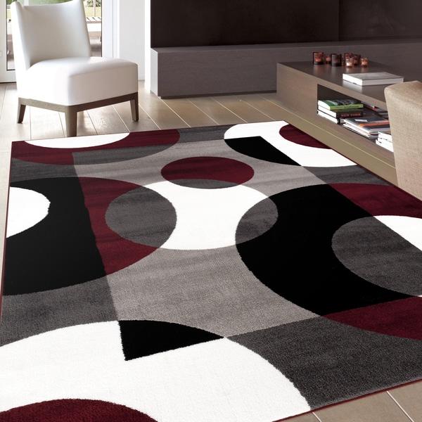 Modern Circles Burgundy Area Rug (7u0026#x27;10 ...