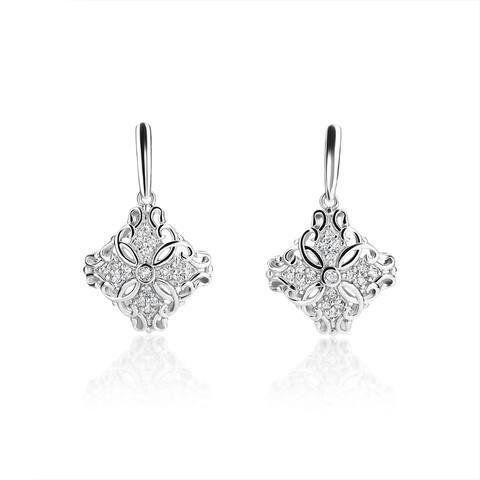 SummerRose 14k White Gold 2/5ct TDW Diamond Antique Style Drop Earrings