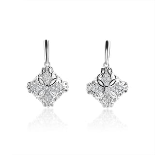 SummerRose 14k White Gold 2/5ct TDW Diamond Antique Style Drop Earrings (H-I, SI1-SI2)