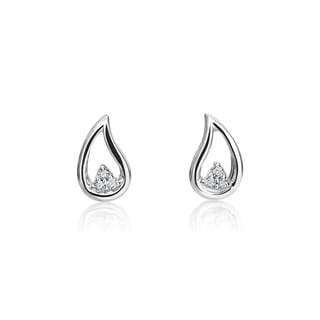 SummerRose 14k White Gold Diamond Accent Open Teardrop Earrings (H-I, SI1-SI2)