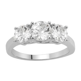 Divina 14k White Gold 1 1/2ct TDW Diamond 3-stone Anniversary Ring