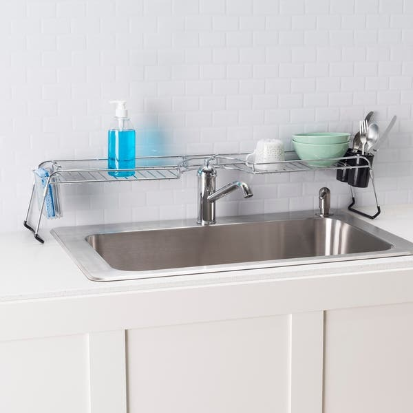 Shop Home Basics Chrome Plated Steel Over The Sink Shelf ...