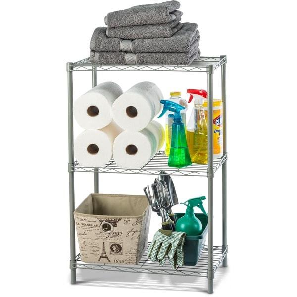 Home Basics Grey Steel 3-tier Wire Shelf