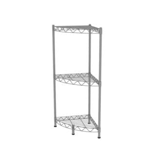 Home Basics Grey 3-tier Wire Corner Shelf
