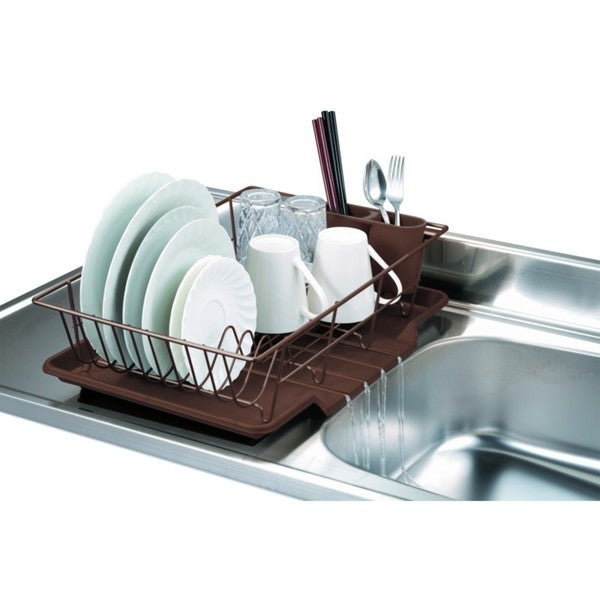 Home Basics 3-piece Dish Rack Drainer Set. Opens flyout.