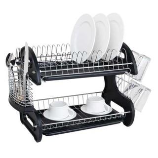 Home Basics 2-tier Plastic Dish Rack Drainer
