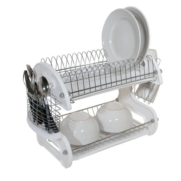 shop home basics 2 tier plastic dish rack drainer free shipping on orders over 45 overstock. Black Bedroom Furniture Sets. Home Design Ideas