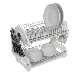 Home Basics 2-tier Plastic Dish Rack Drainer