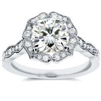 Annello by Kobelli 14k White Gold 2ct TGW Cushion-cut Moissanite (HI) and Diamond Floral Antique Engagement Ring