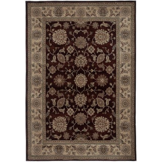 Rizzy Home Traditional Blue/ Red/ Beige Border Bellevue Collection Power-Loomed Accent Rug (5'3 x 7'7)
