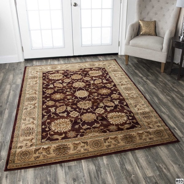 Rizzy Home Traditional Blue/ Red/ Beige Border Bellevue Collection Power-Loomed Accent Rug (5'3 x 7'7) - 5'3 x 7'7