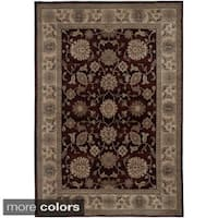 Rizzy Home Traditional Blue/ Red/ Beige Border Bellevue Collection Power-Loomed Accent Rug (6'7 x 9'6) - 6'7 x 9'6