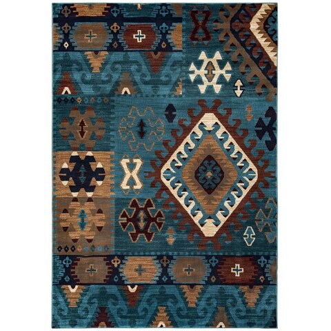 Rizzy Home Southwestern Blue/ Multi Abstract Bellevue Collection Power-Loomed Accent Rug (5'3 x 7'7)
