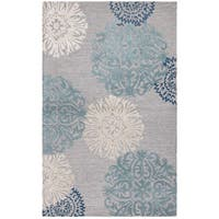 Rizzy Home Dimensions Collection Light Grey Medallion Hand-tufted Wool Rug (5' x 8')