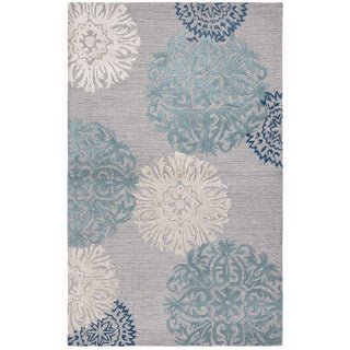Rizzy Home Dimensions Collection Light Grey Medallion Hand-tufted Wool Rug (5' x 8') - 5' x 8'
