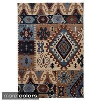Rizzy Home Southwestern Blue/ Multi Abstract Bellevue Collection Power-Loomed Accent Rug - 3'3 x 5'3